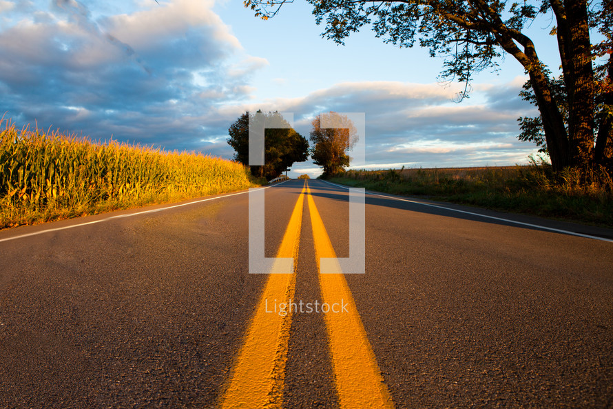center lines on a rural road