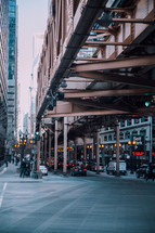 cars under a bridge in Chicago