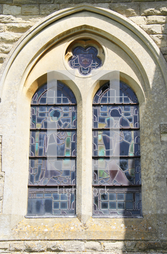 exterior of a church stained glass window
