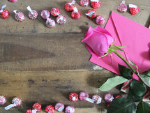 Hersey Kisses in a border and pink rose and envelope
