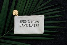 Spend now save later coin purse on a palm frond