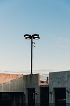 street lamp on a parking garage
