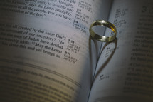 a wedding band on the pages of a Bible with heart shadow