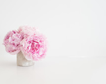 A vase of pink peonies on a white background.