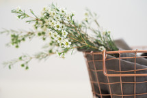 flowers in a wire basket
