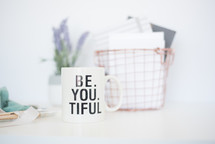 Be. You, Tiful, , wire basket, lavender, potted plant, house plant, letters, paper, journals, fabric, votive, candle, ribbon, around, paint brushes, art, crafting
