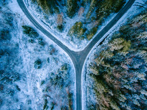 aerial view over a snowy highway