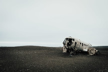 wreckage of an airplane crash site