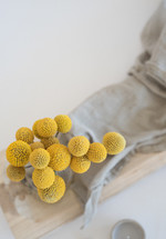 yellow flowers and linen fabric