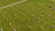drone over a Cemetery on Memorial Day