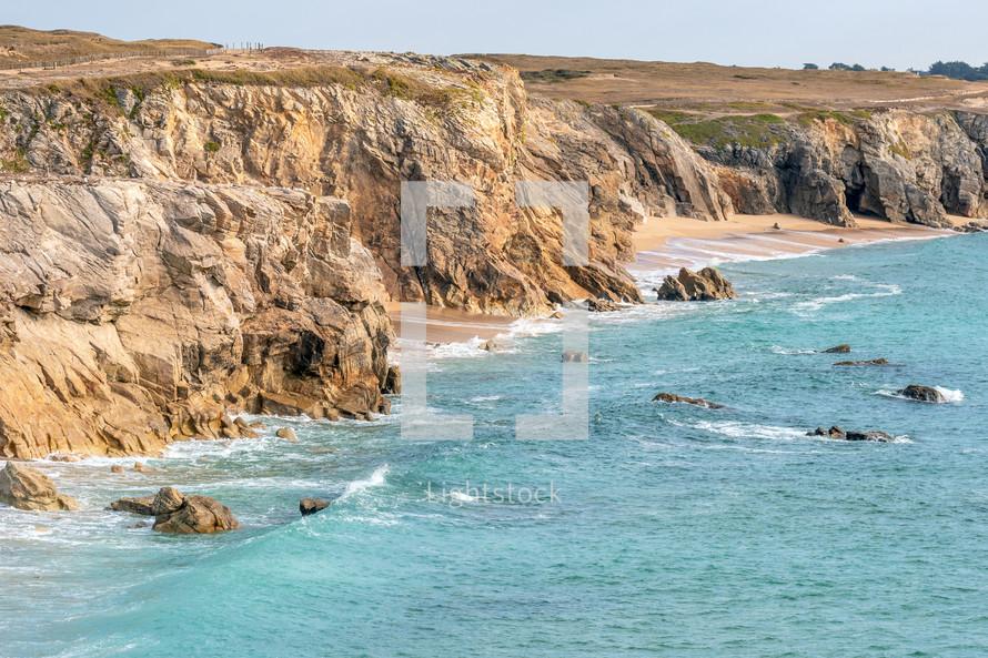 cliffs along a sea shore
