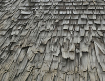 Rotting shingles on an old roof