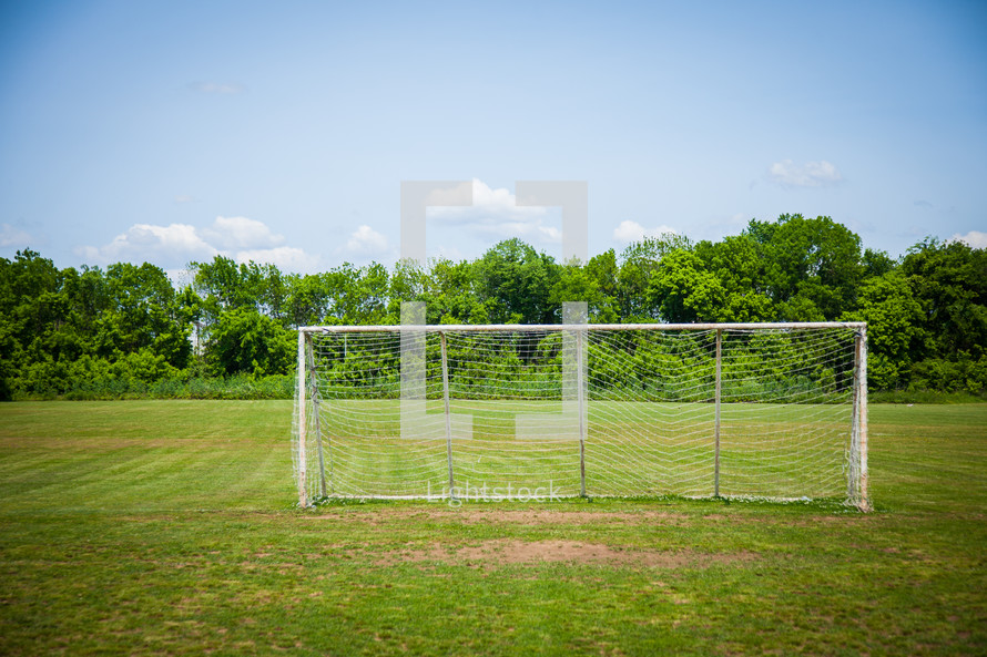 a net on a soccer goal