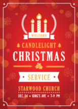 Christmas Candlelight Service Church Invitation Template