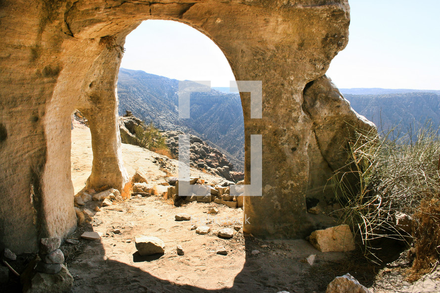 Cave church in the mountainside of the Dana Biosphere Reserve, Jordan.