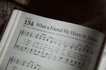 What a friend we have in Jesus in a hymnal