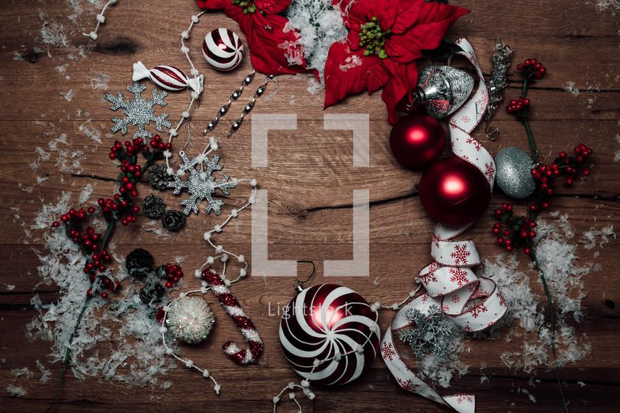 Christmas scene on wood