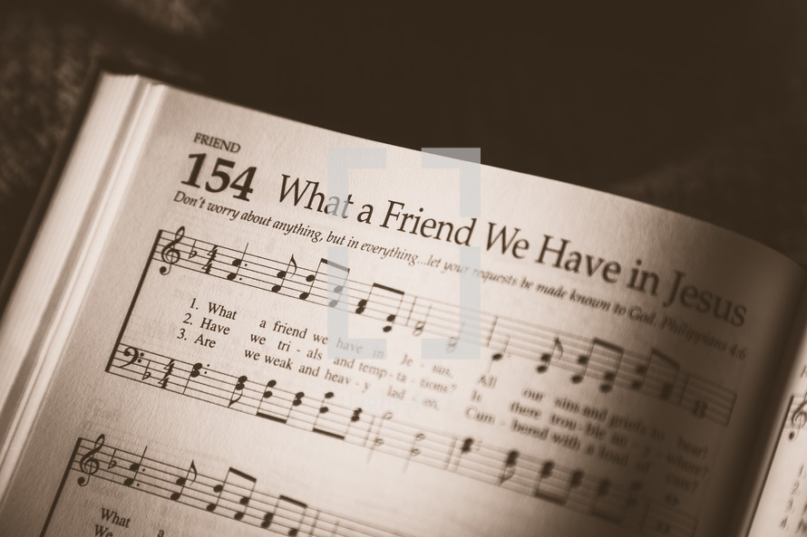 What a friend we have in Jesus hymn in a hymnal