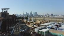 drone over LA construction site