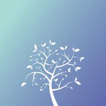 white tree on blue background.