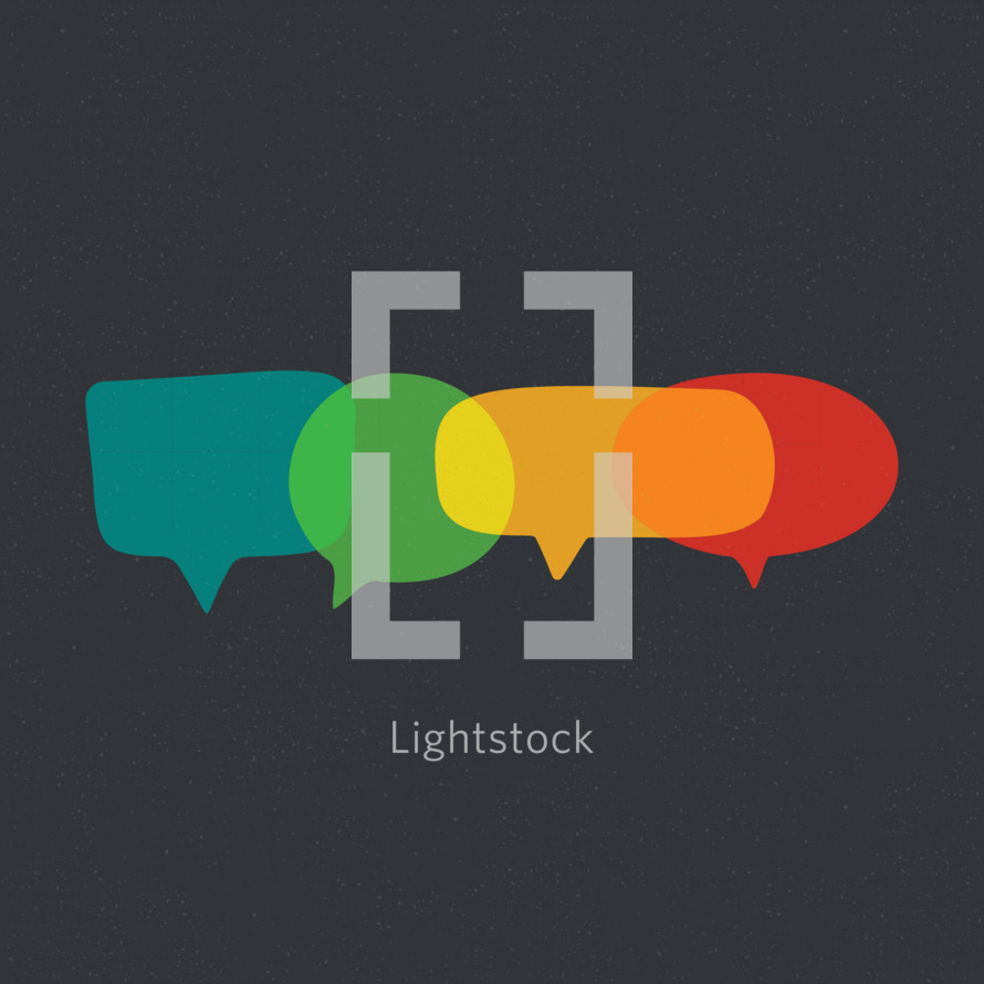 rainbow talking speech bubbles