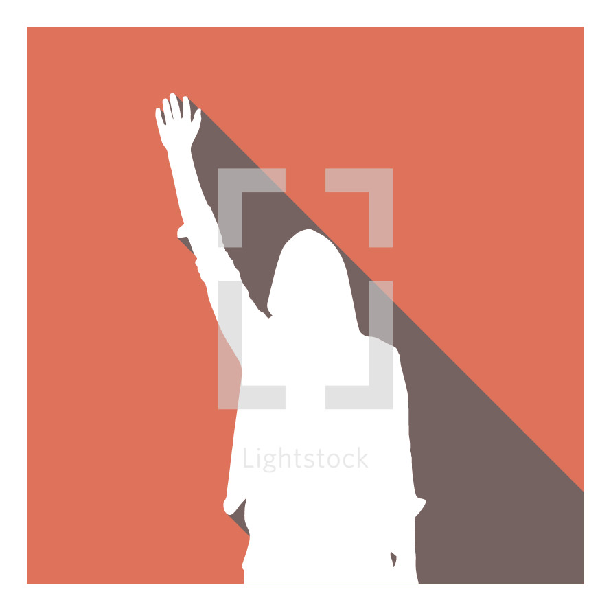 illustration of woman with raised hand.