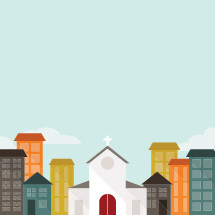 illustration of a church in the middle of a city.