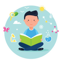 boy reading and science icons
