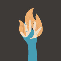 illustration of hand on fire.