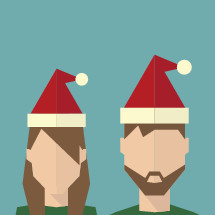 man and woman in Santa hats