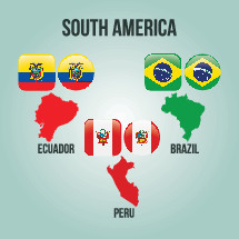 South American countries, Ecuador, Peru, Brazil, flags, illustration