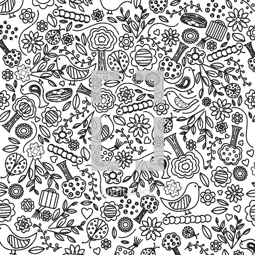 Garden dream hand drawn background