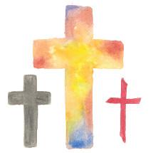 Vector watercolor Easter crosses.