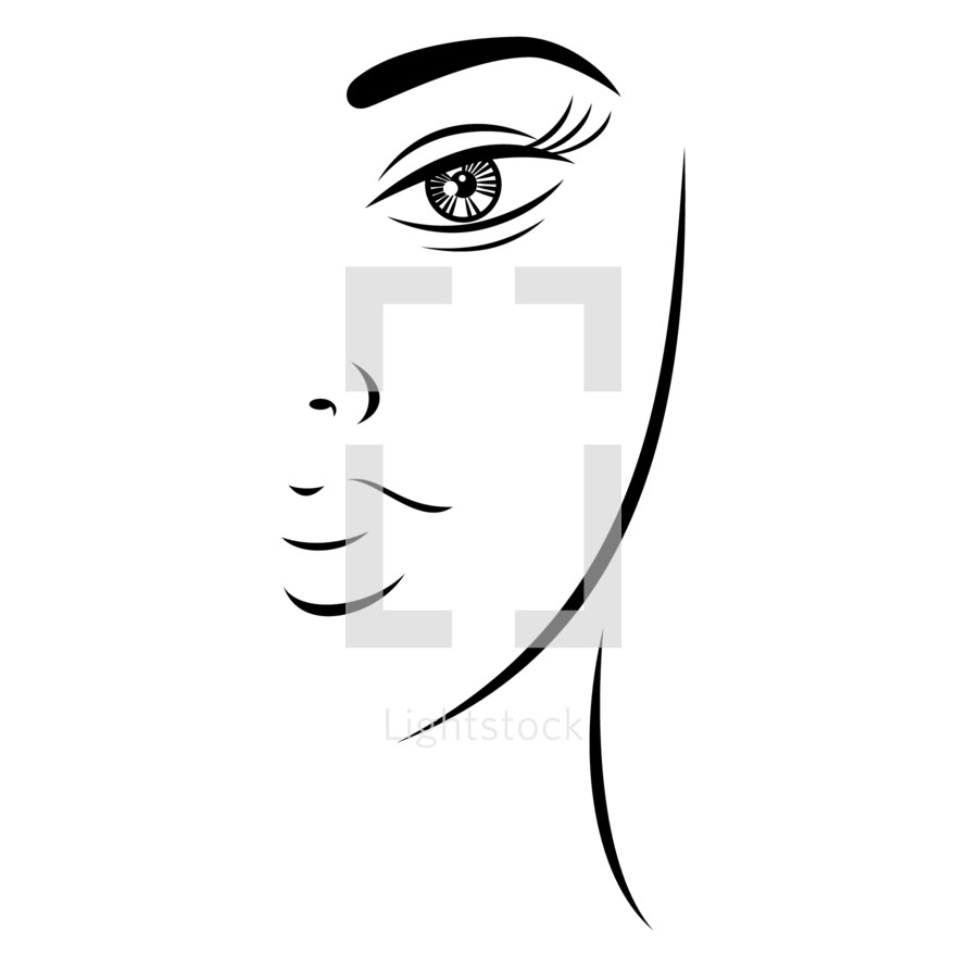 face. Half woman face with beautiful makeup. Recolorable shape isolated from background. Vector illustration is a graphic element for artistic design.