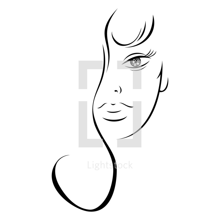 face. Half woman face with long hair. Recolorable shape isolated from background. Vector illustration is a graphic element for artistic design.