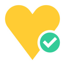 Love match symbol. Yellow heart icon favorite sign liked button with green check mark pictogram created in trendy flat style. Quick and easy recolorable shape isolated from the white background. The design graphic element saved as a vector illustration in the EPS file format for used in your design projects.