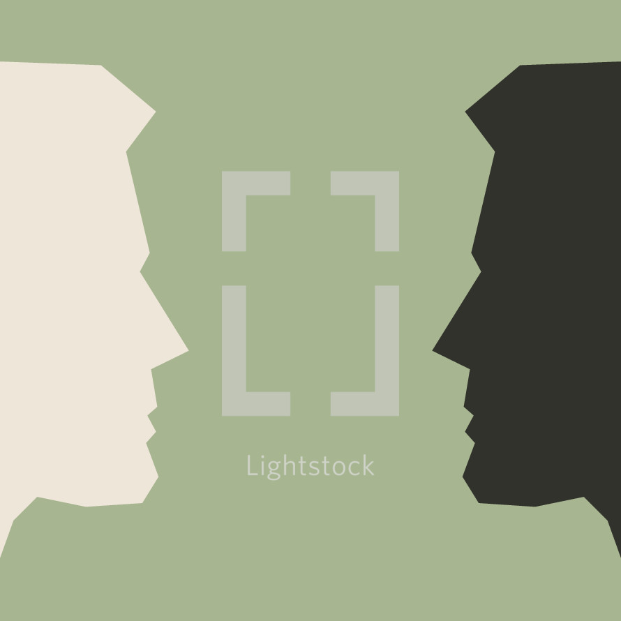 Vector illustration of two men's profiles facing each other.
