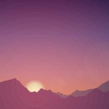 sunset behind a mountain illustration