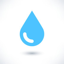 Blue water drop icon with gray shadow in flat style. Graphic element for design saved as an vector illustration in file format EPS