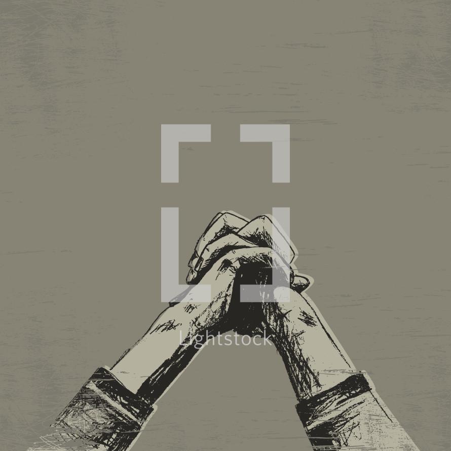 Sketch of praying hands.