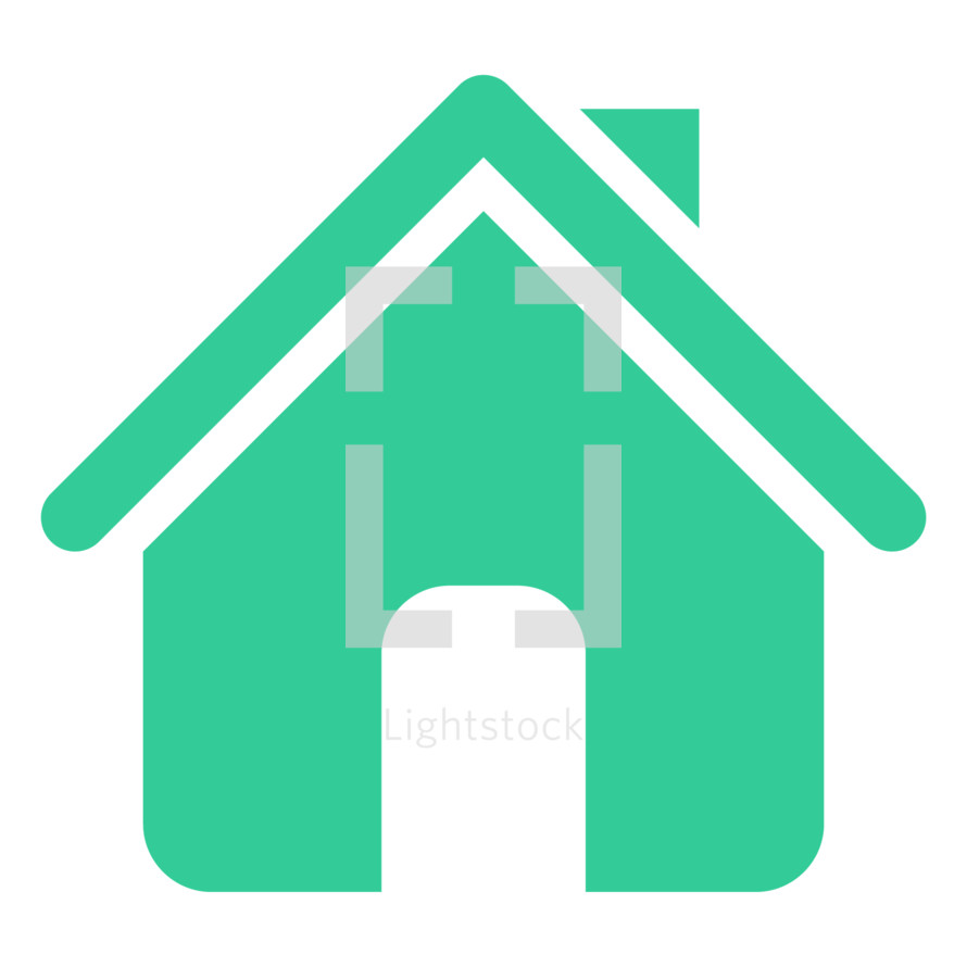 Home icon or House symbol created in trendy flat style. The graphic element saved as a vector illustration in the EPS file format for used in your design projects. The shape is in green color.