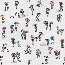 tiny people with umbrellas