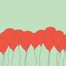 red ballons illustration.
