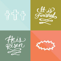 Hand drawn Easter title and icon pack.