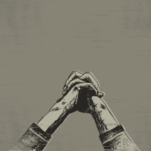 Sketch of praying hands.