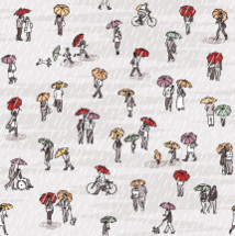 people walking with umbrellas pattern