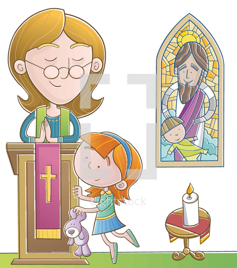 kids in church illustration
