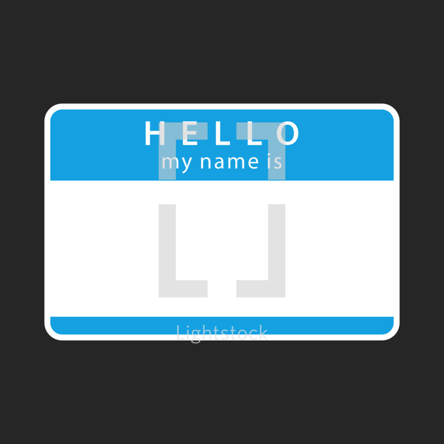 Hello my name is empty sticker. Blue blank name tag badge is rounded rectangular shape. A name tag is a badge or sticker that is required to display the owner's name for other people to view. Quick and easy recolorable shape isolated from the dark gray background. The design graphic element saved as a vector illustration in the EPS file format for used in your design projects.