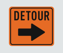detour sign with an arrow