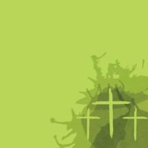 three crosses on green